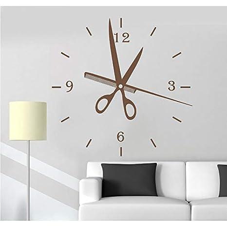 Lvabc Lo Nuevo Creativo Tatuajes De Pared Peluquería Relojes De Moda Reloj De Pared Grande Pegatinas Diy Sala De Estar Decoración Estilo Barbería 42X43 Cm: ...