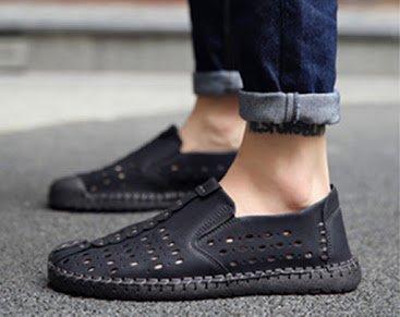 scarpe uomo dimensioni di taglia Nero particolare Bebete5858 Hole allacciano in pelle casual grandi da Mocassini 46 in di grande formato le wCtTq1Z