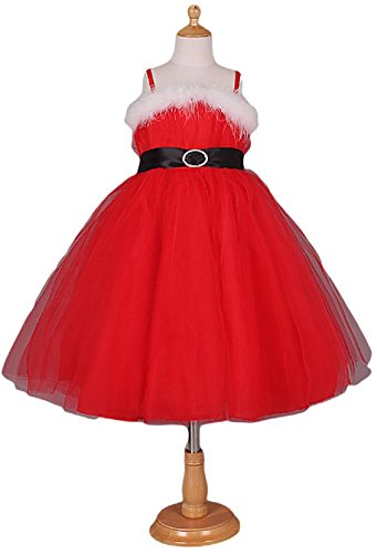 (Girls Pretty Red Miss Mrs Christmas Santa Tutu Fancy Dress Costume Outfit 3-10 Years (9-10 Years)