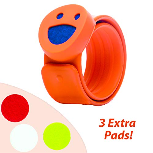 Kids Diffuser Bracelet - Essential Oil Bracelet with 4 Refill Pads - Aromatherapy Bug Insect Mosquito Repellent for Boys and Girls Buglet (Orange)