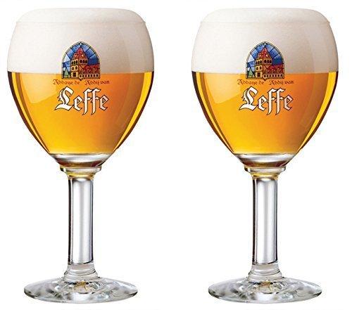 Leffe Glasses 33CL (Set of 2) ''Large Stem'' + 2 Leffe Beer Mats by LEFFE