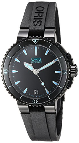 Oris Women's'Aquis' Swiss Automatic Stainless Steel and Rubber Dress Watch, Color:Black (Model: 73376524725RS)