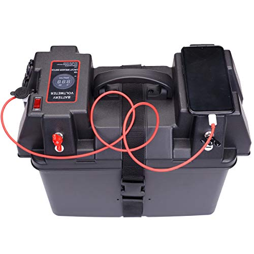 Homeon Wheels Boat Power Smart Battery Box Power Center with Voltmeter for RV / 4WD / Marine/Camping (PB-700) (Battery Box Meter)