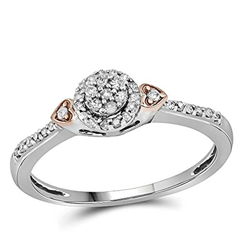 Roy Rose Jewelry 10K Two-tone Gold Womens Round Diamond Cluster Double Heart Ring 1/6-Carat tw