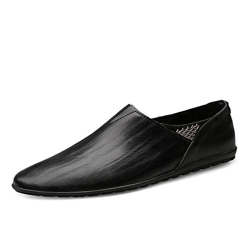 Pelle da Walking Nero Slip On da Soft in Mocassini Vera Driving Uomo Cricket Shoes Scarpe 7ExwnHqx4