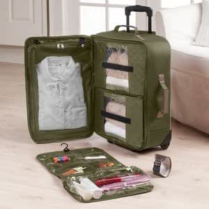 Amazon Com Joy Mangano Clothes It All Travelease Light 22 Quot Mobile Dresser Luggage Olive
