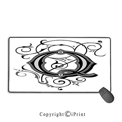 (Extended gaming mouse pad with stitched edges,Letter Q,Flowers Flourishing Gothic Q Words Writing Artistic Style Aged Typography,Black Grey White,Suitable for laptops, computers, PCs, keyboards,15.8