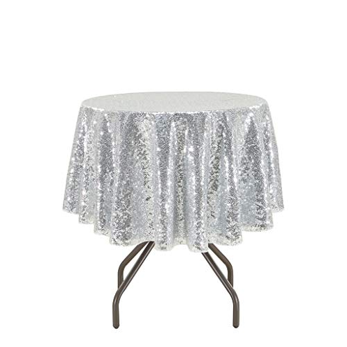 Eternal Beauty Wedding Tablecloth, Round Sequin Tablecloth for Party, Glitter Party Tablecloth(Silver 48