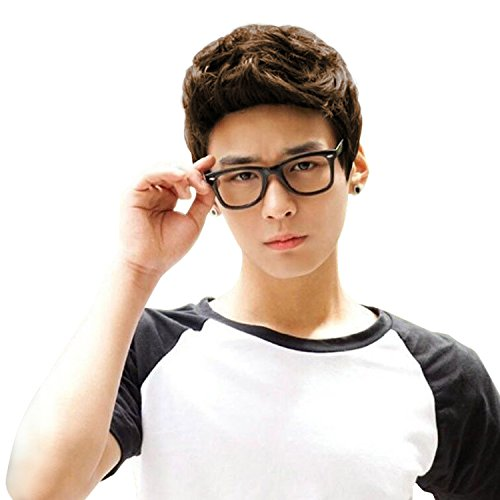 Light Brown Short Wig,Acecharming Men Fashion Synthetic Quiff Hair Wigs For Daily Use with Cap]()