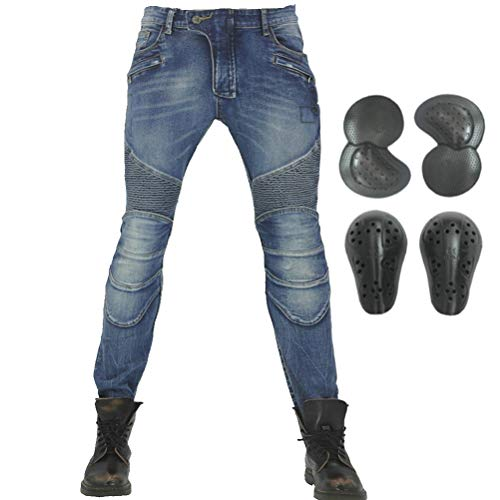 (Men Motorcycle Jeans Cotton Pleated Nostalgic Slim Fit Locomotive Cycling Pants (XXXL=38))