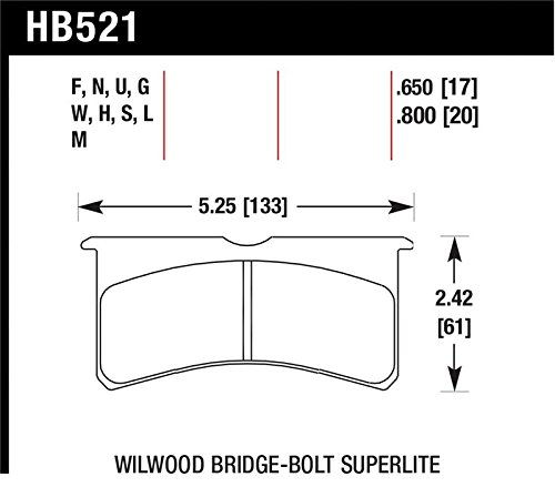 Hawk Wilwood Superlite 4/6 Forged Dtc-60 Race Brake Pads By