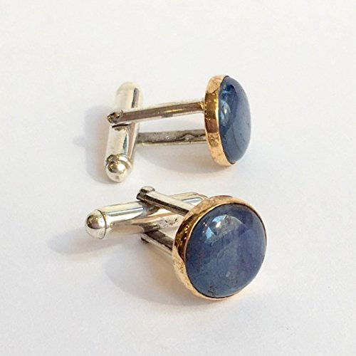 Kynite Two tone Silver yellow gold round unique bohemian cuff links - Blue Light C8000 ()