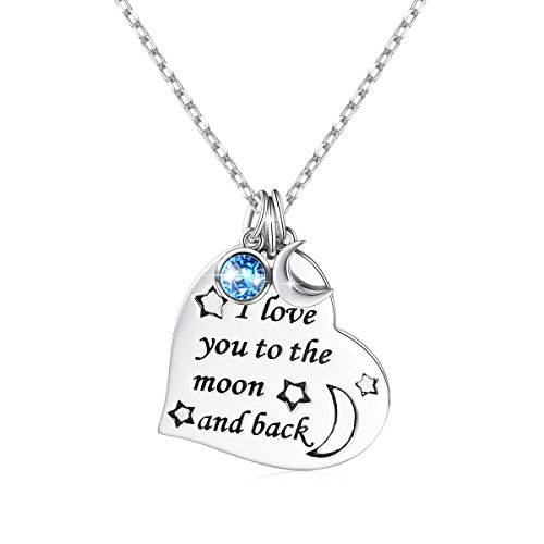 (Birthday Gift Jewelry 925 Sterling Silver Engraved I Love You to The Moon and Back Heart Pendant Necklace for Women, 18