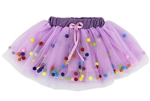 Laurelor Baby Girl Cute Rainbow Pom Pom Puff Ball Tulle Tutu Dress Lace Skirt,Purple - Rainbow Cute