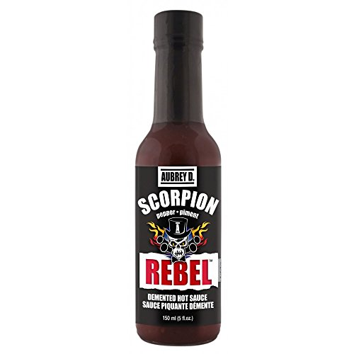 - Aubrey D. Rebel Scorpion Hot Sauce, Gluten Free, Crazy Spicy Pepper for Meat, Chicken, Dips, BBQ Ribs, Fiery Wings, (2 bottles 5 oz each).