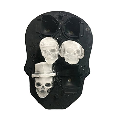 KAYI Ice Cube Maker Silicone Mold 3D Skull 6 Cute and Funny Ice Skull by KAYI