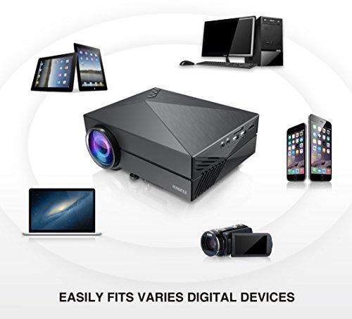 AVANTEK Portable Video Projector 1000 Lumens for Home Cinema Theater and Games with USB SD VGA HDMI AV Port