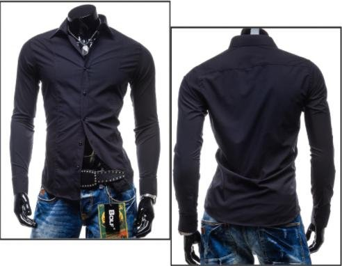 Hoffnung Solid Slim Casual Fashion Business Shirt Trend for Men M, Black. by Hoffnung (Image #2)