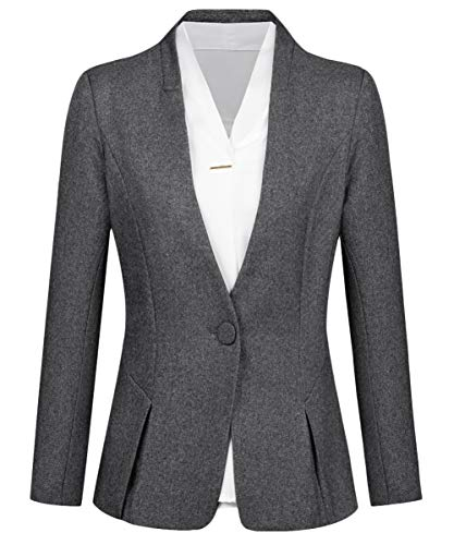 CMDC Women's 2 PC Business Casual Shawl Collar Formal Blazer Suit Pants Sets MI35 (Dark Grey, 10)