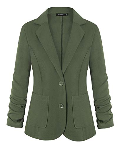 ROOSEY Women's 3/4 Sleeve Stretch Solid Classic Suit Jacket - Casual and Work Blazer (Army Green, M)