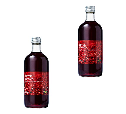 IKEA Dryck Lingon - Sweet Swedish Lingonberry Fruit Juice Drink Concentrate 16.9 oz - Best For Mixing With Water, 2 Pack