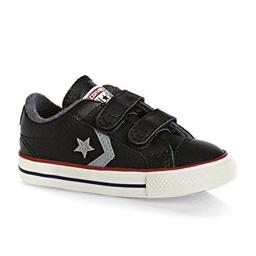 Converse Kinder Player 2V Leder Schuhe in Schwarzem Leder und Klettverschluss 758155C Nero