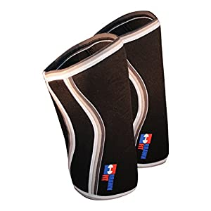 Premium 7mm Knee Sleeves (1 Pair) Padded Support & Compression for Weightlifting, Powerlifting Best Squats Sleeve Neoprene Brawn Fit (Black, Large)