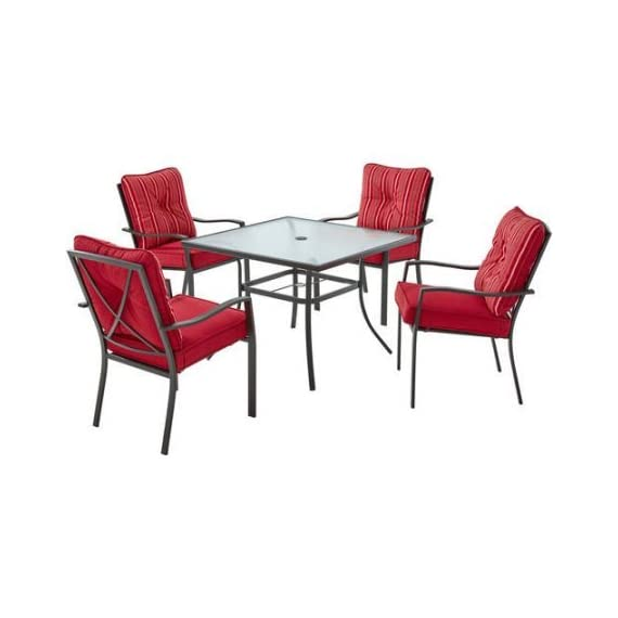 Mainstays Forest Hills 5-Piece Dining Set, Red - Durable, rust-resistant powder-coated steel frame finished in matte espresso finish Tempered glass table top for safety No assembly chairs - patio-furniture, dining-sets-patio-funiture, patio - 416WInXVtjL. SS570  -