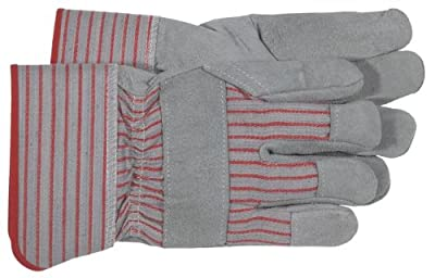 Boss 4092 Split Leather Palm Gloves, Large, Gray and red stripes