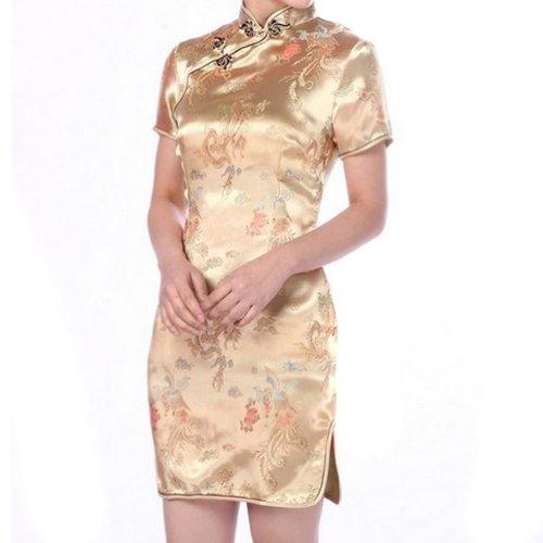 Hee Grand Damen China Cheongsam Kleid Abendkleid Partykleid Gold ...