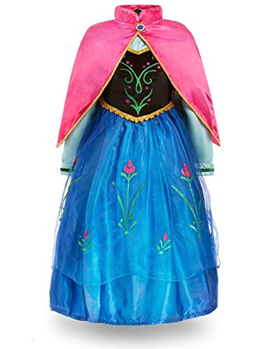 FUNNA Princess Anna Frozen Costume for Toddler Girls Fancy Dress Party, Blue, 4]()