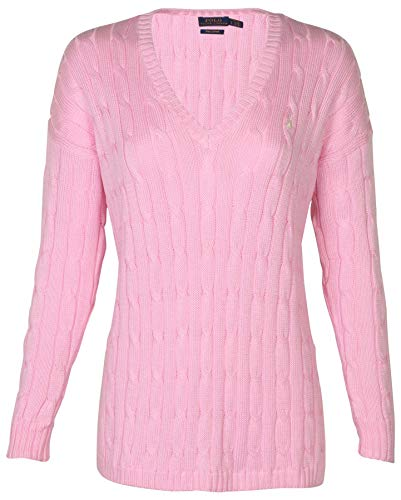 Polo Ralph Lauren Women's Cable Knit V-Neck Pony Sweater-Tay Rose/White-XS
