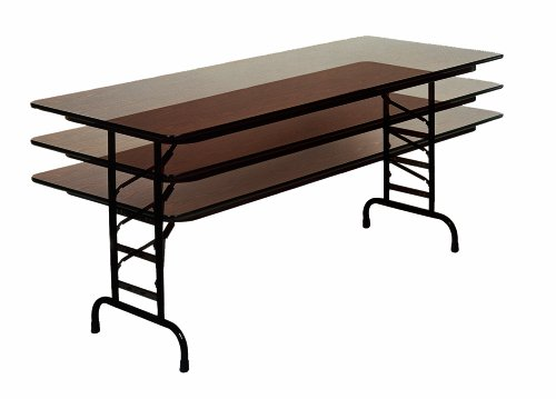 Correll CFA3072M 01 Melamine Adjustable Height Top Folding Table, Rectangular, 30 Width x 72 Length x 22 to 32 Height, Walnut