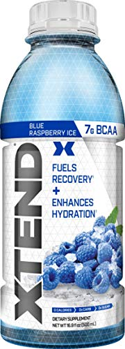 Scivation Xtend On The Go, Branched Chain Amino Acids, BCAAs, Zero Sugar Hydration & Muscle Recovery Drink with Electrolytes, Blue Raspberry Ice, 16.9 oz Bottles (Pack of 12)
