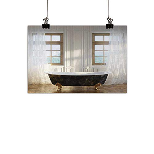 """Antique Chinese Classical Oil Painting Retro Bathtub in Modern Room Interior Hardwood Classics Space Design for Living Room Bedroom Hallway Office White Black Light Brown 27""""x20"""""""