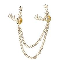Fashion Deer Head Elk Tips Double Chains Tassels Collar Pins Brooch Gold
