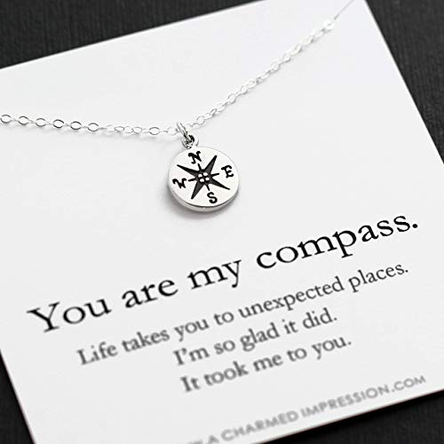 You are my Compass • I'd be Lost Without You • Personalized Sterling Silver Charm Necklace • Unique Handcrafted Gift for Wife/Girlfriend/Best Friend (Best Gift From Girlfriend)