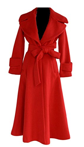 WSPLYSPJY Women's Elegant Lapel Solid Color Long Trench Coat A Line Swing Wool Blend Peacoat Red XL