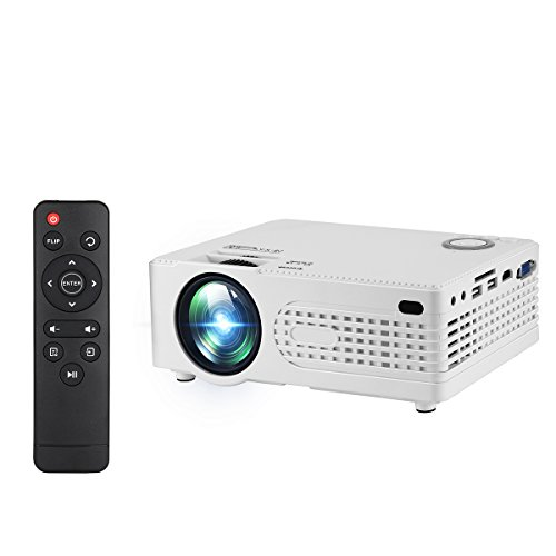 4'' 2000 Lumens LED Video Projector, AOZBZ HD 1080P LCD LED Home Theater Video Multimedia Projector Support 1080P HDMI USB SD Card VGA AV for Outdoor Indoor Home Cinema TV Laptop Game by AOZBZ
