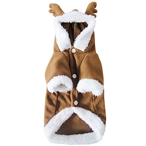CozyCabin Dog Clothes Dog Hoodie Coat Christmas Elk Costumes Cute Pet Clothes (S)