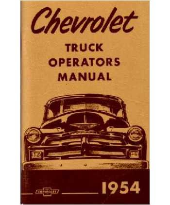 1954 CHEVROLET TRUCK Full Line Owners Manual User Guide Chevy Full Line