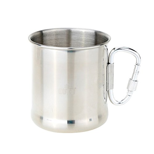 Outdoor Stainless Steel Cup Mug with Foldable Self-lock Carabiner Handle 250ml Portable Folding Handle Cup for Camping
