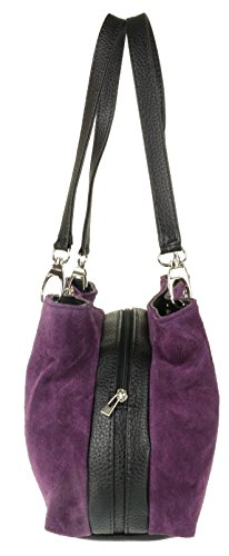 HandBags Leather Italian Purple Girly Shoulder Bag Dark Suede Girly HandBags qxZwPE7
