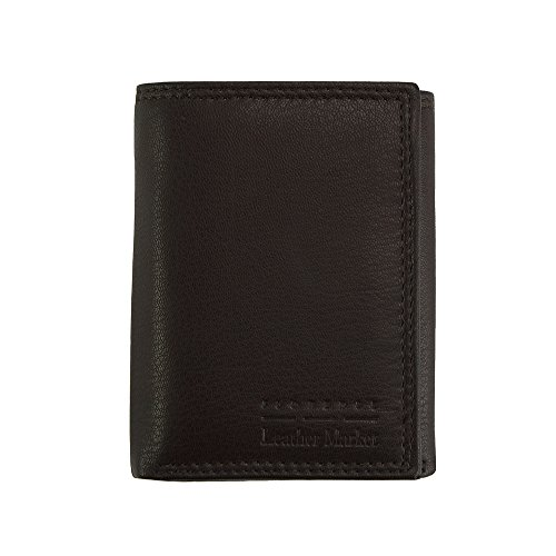 Mens TRI-FOLD soft leather wallet - PF52P - Leather wallets (Dark (Dark Brown Mens Wallets)