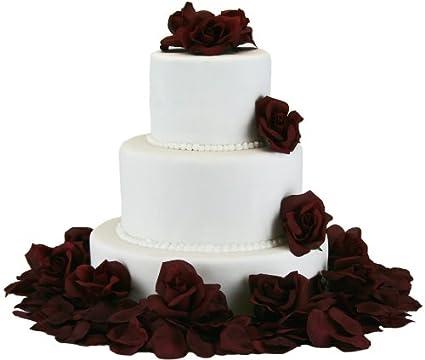 Amazon Com Burgundy Silk Rose Cake Flowers Reception Decoration