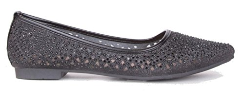 Flat Black Metallic Ladies Ballerina Womens Pumps Shoes K23 Glitter Shimmer Walking On Flat Slip 0HaBqRxg