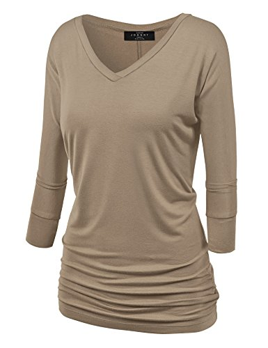 Made By Johnny WT1036 Womens V Neck 3/4 Sleeve Dolman Top With Side Shirring M Taupe (Clothing Taupe)