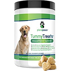 Tummy Treats - Probiotics for Dogs - Safe All Natural Dog Allergy Medicine - Dog Breath Treats - Helps Hot Spots - Yeast Infection - Constipation - Diarrhea - 120 Count - Probiotic & Digestive Enzymes