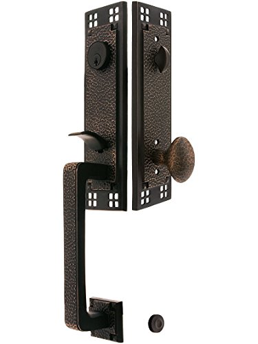 Emtek Arts & Crafts Door (Arts & Crafts Style Tubular Handleset In Oil Rubbed Bronze With Hammered Egg Knobs And 2 3/8