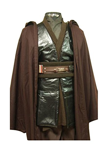 [Ya-cos Men's Halloween Jedi Anakin Skywalker Cosplay Costume Outfit Attire Suit+Cape Set] (Young Anakin Costume)